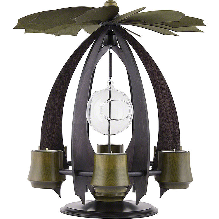 1 - Tier Modern Tea Light Pyramid NOVA  -  Anthracite/Mossgreen  -  38cm / 15 inch
