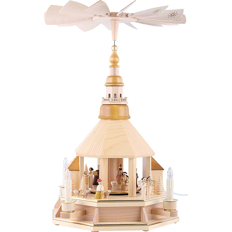 1 - Tier Pyramid  -  Church of Seiffen, Natural Wood  -  52cm / 20.5 inch