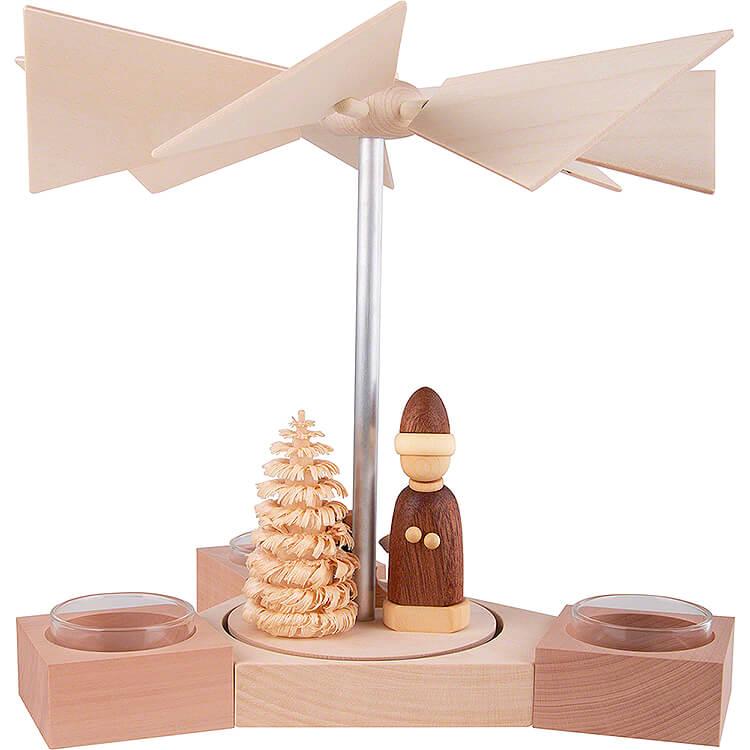 1 - Tier Pyramid Hexagonum Santa with Sled Natural  -  20cm / 7.9 inch
