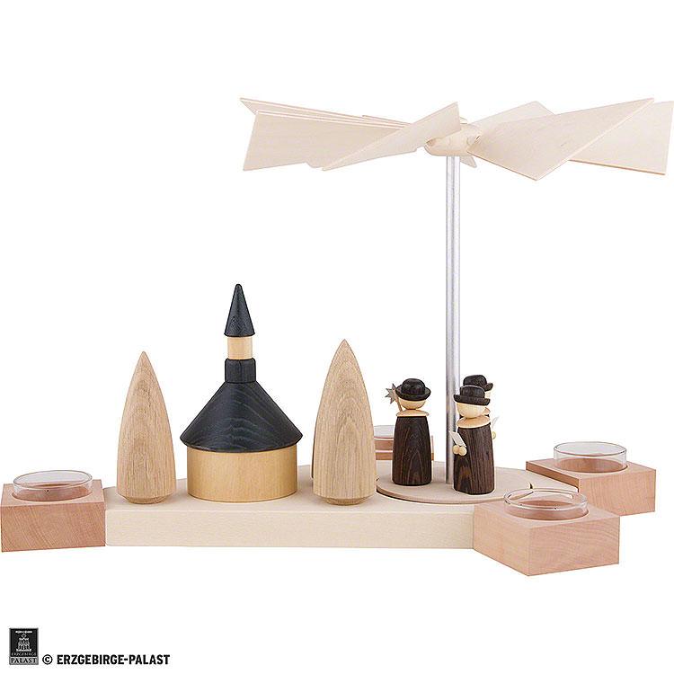 1 - Tier Pyramid Octogonum  -  Carolers with Church  -  23cm / 9.1 inch