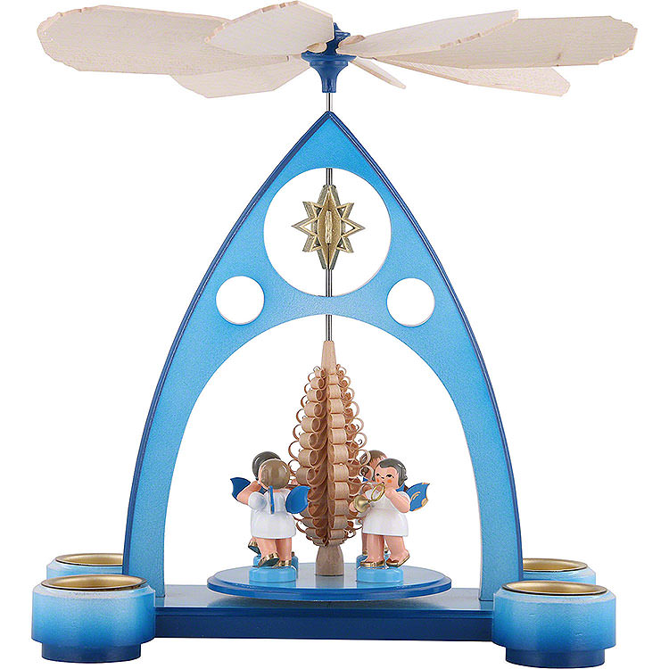 1 - stöckige Pyramide blau mit bunten Engeln und Blasinstrumenten  -  39x30,6x19cm