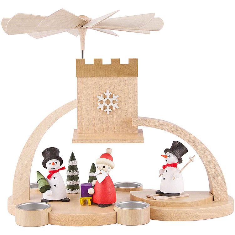 1 - stöckige Pyramide mit Schnee -  Weihnachtsmann, natur  -  29cm