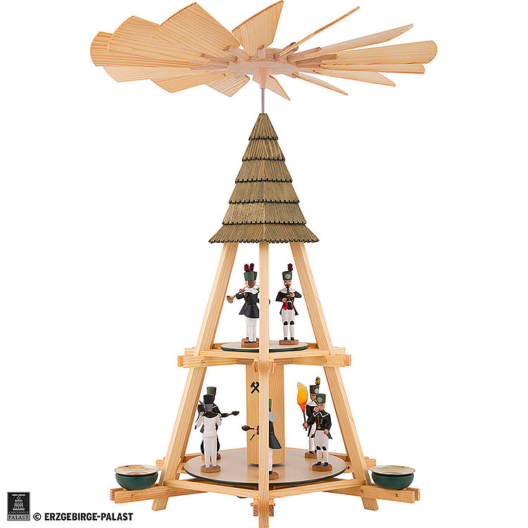 2 - stöckige Göpelpyramide mit Bergleuten  -  52cm
