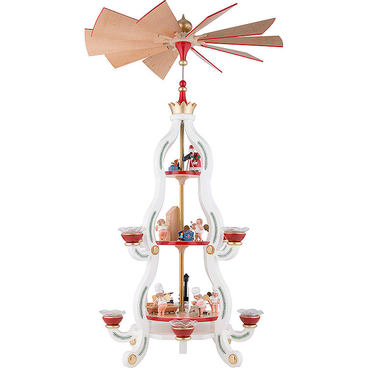 3 - stöckige Pyramide Tradition in weiss  -  85,5cm