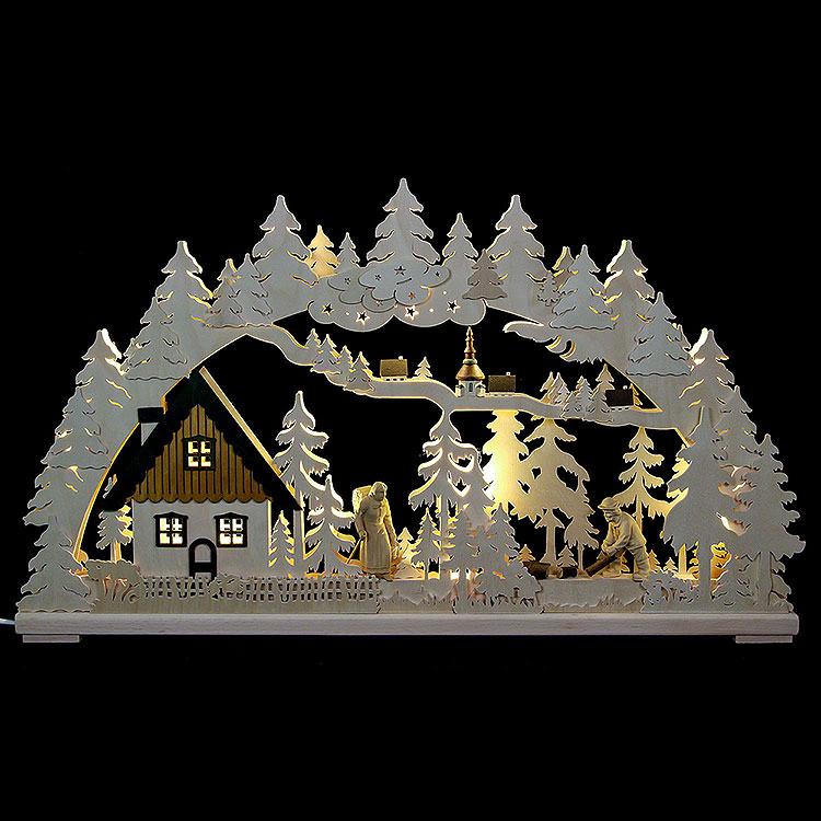 3D - Schwibbogen Altseiffen mit geschnitzten Figuren  -  72x43x8cm