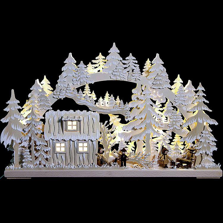 3D - Schwibbogen Blockhütte mit Waldarbeitern und Raureif  -  62x38x8cm