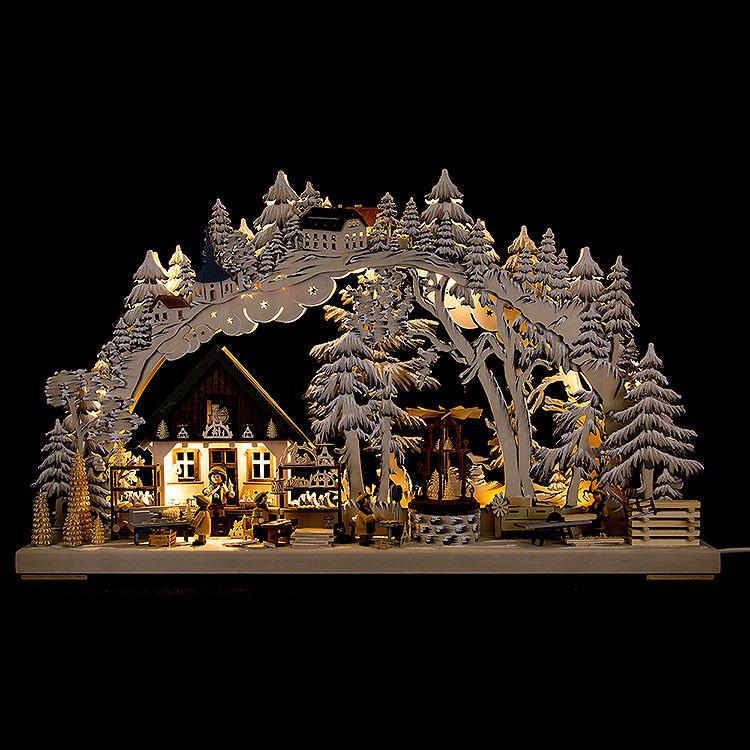 3D - Schwibbogen Kunsthandwerk aus dem Erzgebirge mit Raureif  -  72x43cm