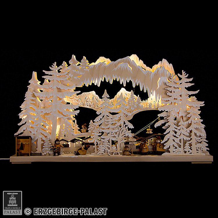 3D - Schwibbogen Skistation mit Raureif  -  72x43cm