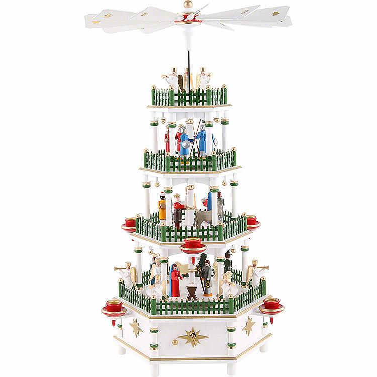 4 - stöckige Pyramide Christi Geburt weiss mit Musikspielwerk  -  52cm