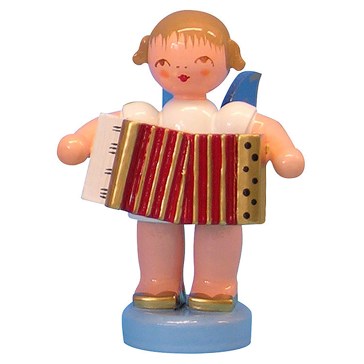 Angel with Accordion  -  Blue Wings  -  Standing  -  6cm / 2,3 inch