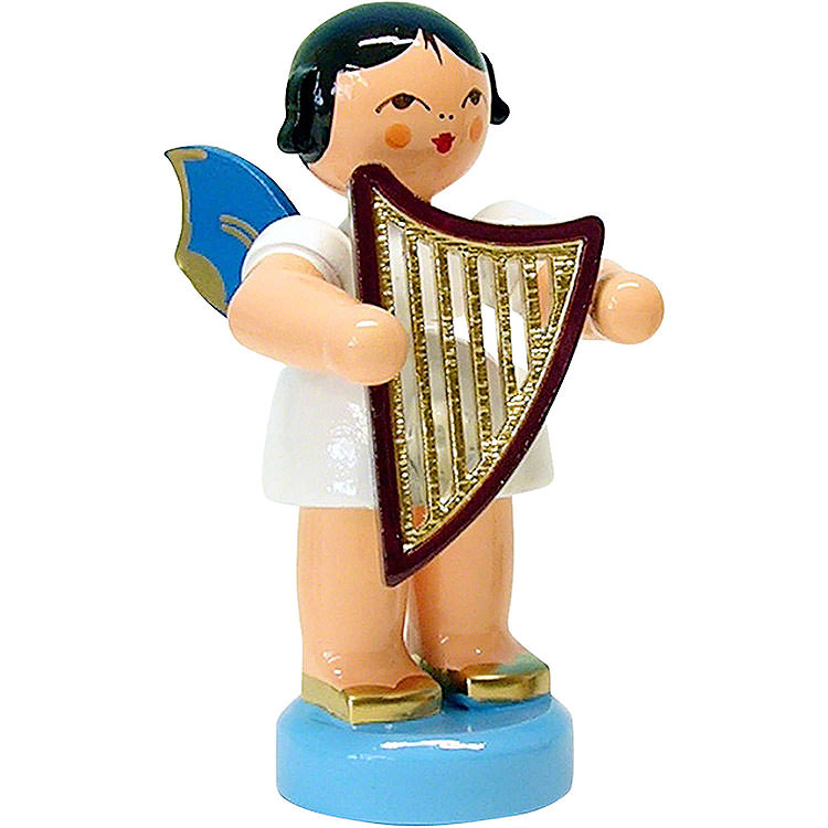 Angel with Lyre  -  Blue Wings  -  Standing  -  6cm / 2.3 inch