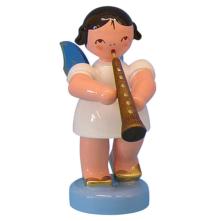 Angel with Oboe  -  Blue Wings  -  Standing  -  6cm / 2,3 inch