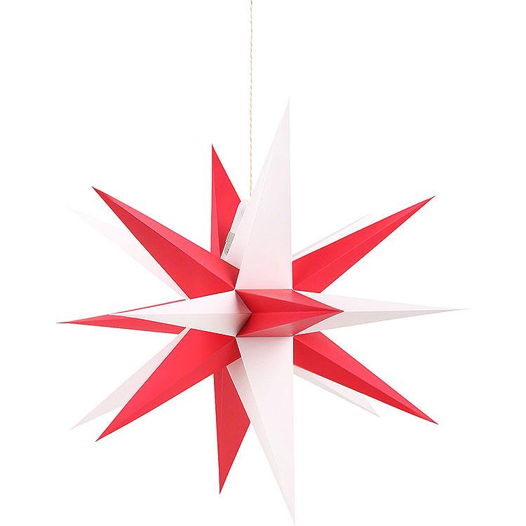Annaberger Faltstern für Innen mit rot - weißen Spitzen  -  35cm
