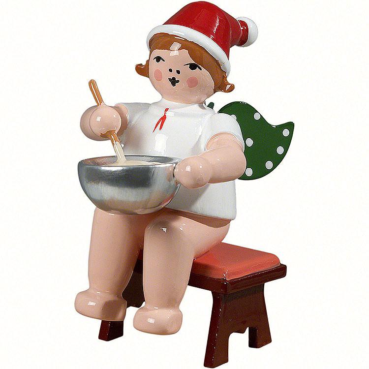 Bäckerengel sitzend mit Mütze und Teigschüssel  -  6,5cm