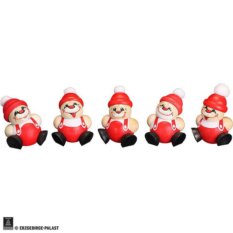 Ball Figures Santa Claus  -  5 - tlg.  -  4cm / 1.6 inch