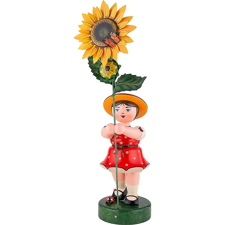 Blumenmädchen mit Sonnenblume, rot  -  53cm