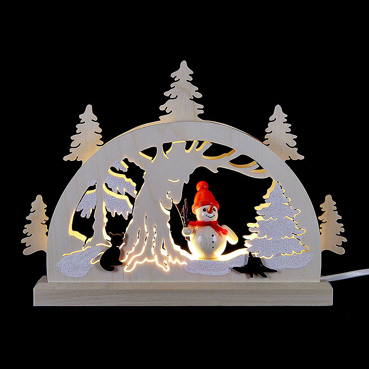 Candle Arch  -  Snowman in the Forest  -  23x15x4,5cm / 9x5.9x1.7 inch