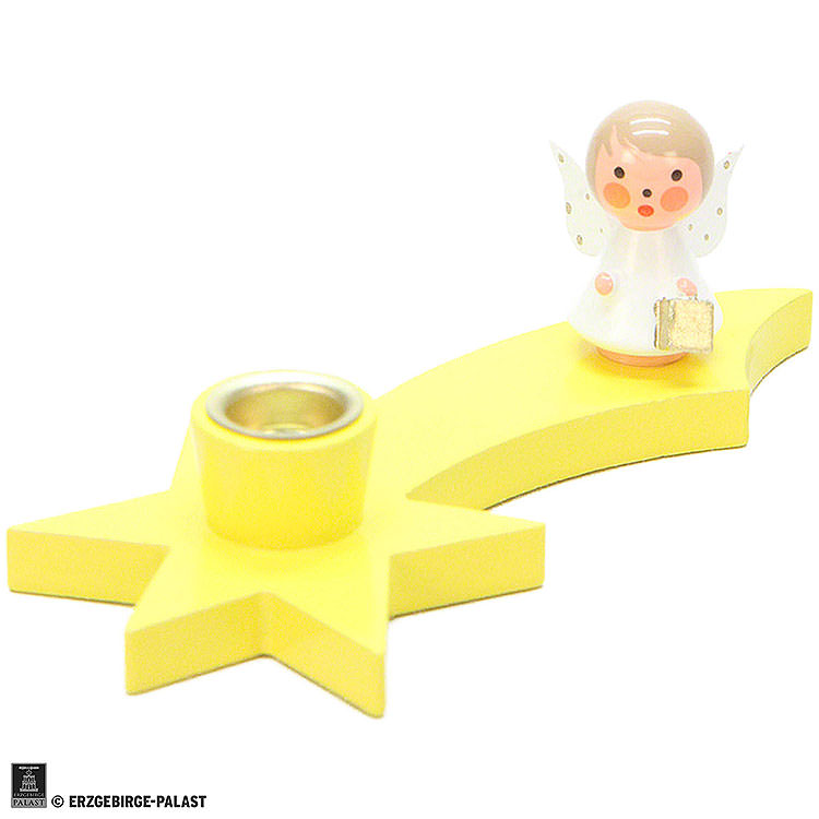 Candle Holder  -  Angel on Comet  -  Yellow  -  3cm / 1.2 inch