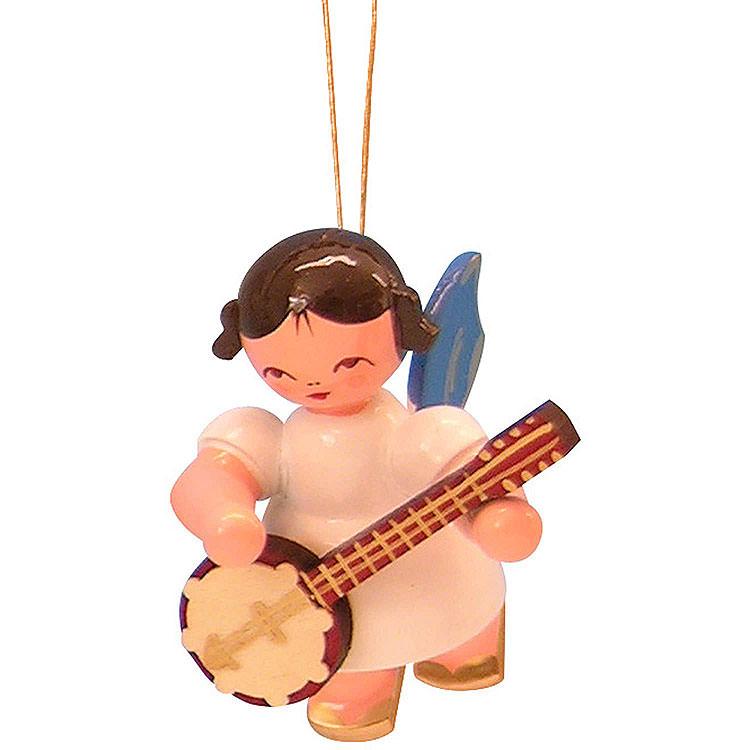 Christbaumschmuck Engel mit Banjo  -  Blaue Flügel  -  schwebend  -  5,5cm