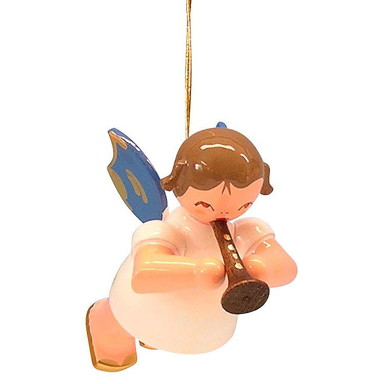 Christbaumschmuck Engel mit Flöte  -  Blaue Flügel  -  schwebend  -  5,5cm