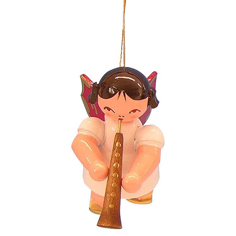 Christbaumschmuck Engel mit Oboe  -  Rote Flügel  -  schwebend  -  5,5cm