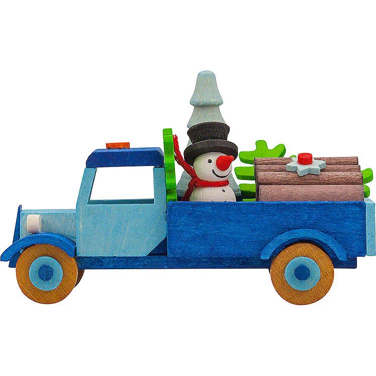 Christbaumschmuck Lastwagen Schneemann mit Baum  -  7,5cm