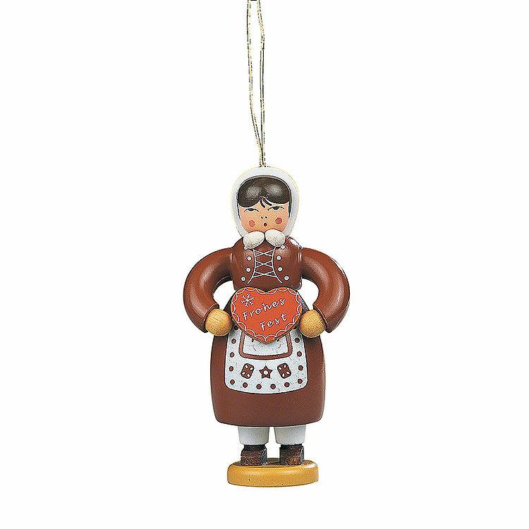 Christbaumschmuck Pfefferkuchenfrau farbig  -  8cm