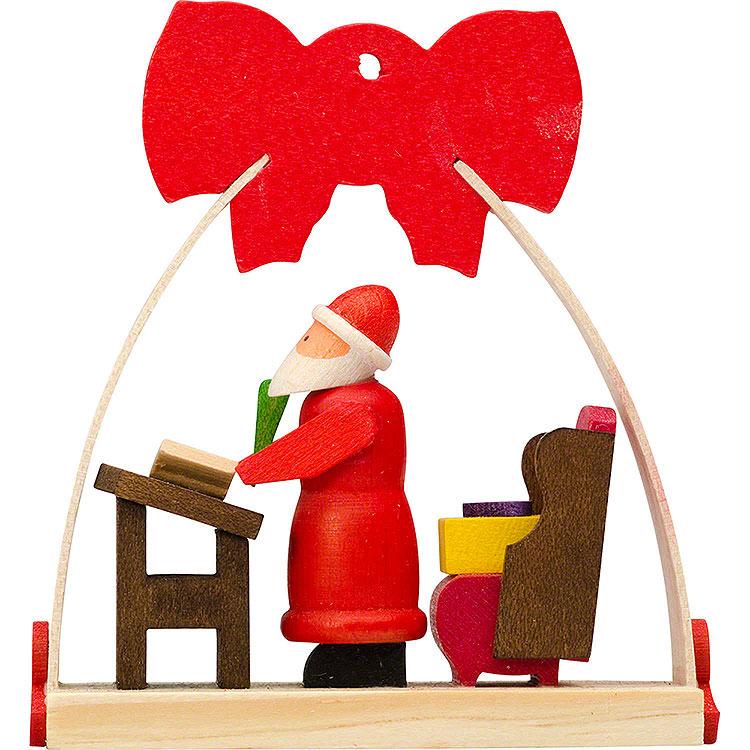 Christbaumschmuck Schleife Weihnachtsmann mit Wunschzetteln  -  7cm