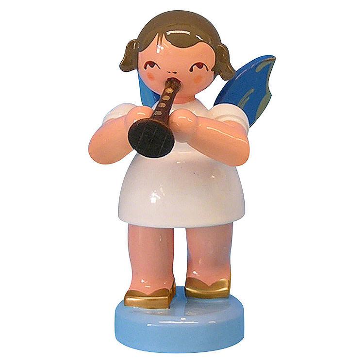 Engel mit Flöte  -  Blaue Flügel  -  stehend  -  6cm