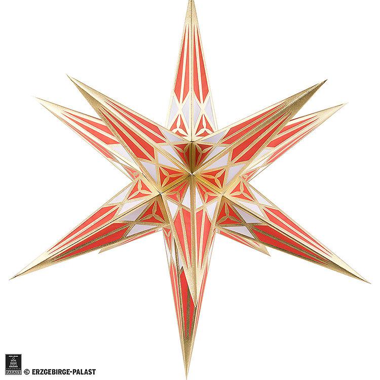 Hartensteiner Weihnachtsstern für Innen  -  weiß - rot mit gold  -  68cm