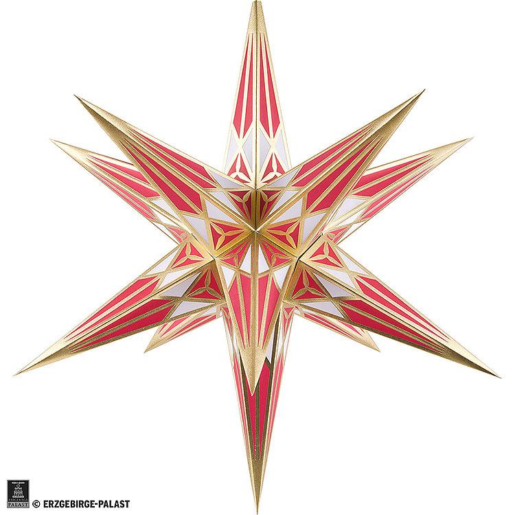 Hartensteiner Weihnachtsstern für Innen  -  weiß - weinrot mit gold  -  68cm