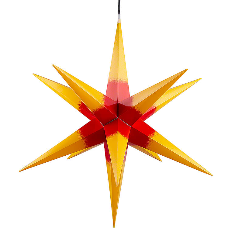 Haßlauer Weihnachtsstern für Innen und Außen gelb mit rotem Kern inkl. Beleuchtung  -  75cm
