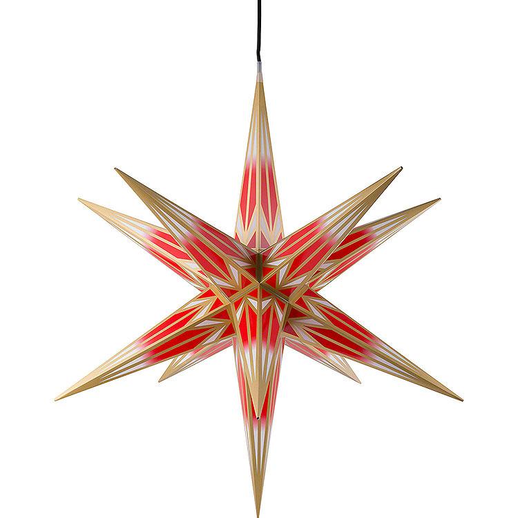 Haßlauer Weihnachtsstern für Innen und Außen rot/weiß mit Goldmuster inkl. Beleuchtung  -  75cm