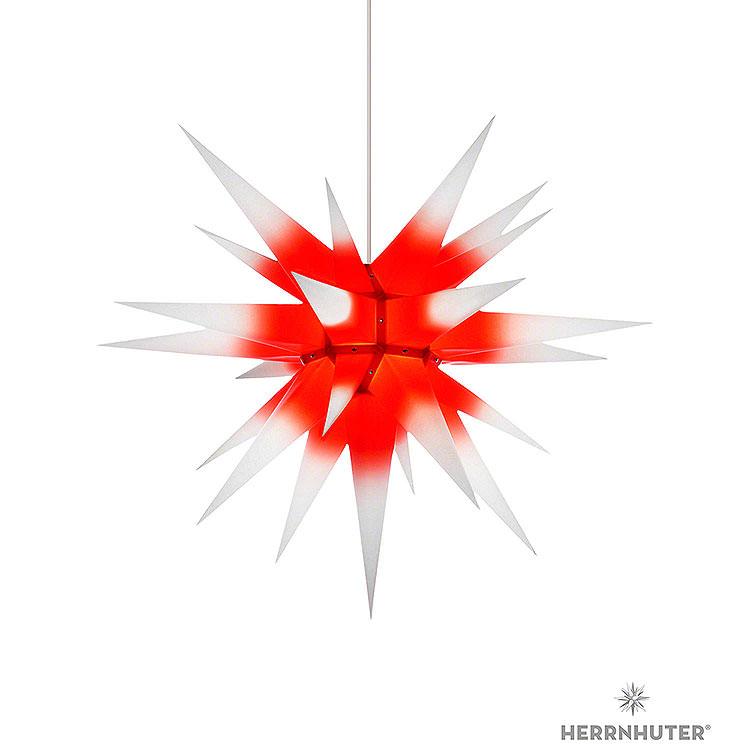 Herrnhuter Stern I7 weiß/roter Kern Papier  -  70cm