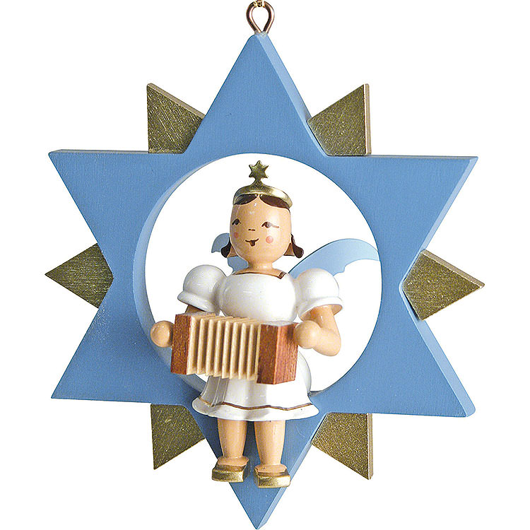 Kurzrockengel mit Harmonika im Stern, farbig  -  9cm