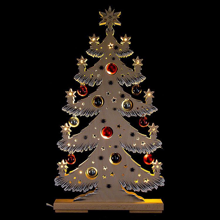 Lichterspitze Tanne mit roten/grauen Baumkugeln und Raureif  -  57x30cm
