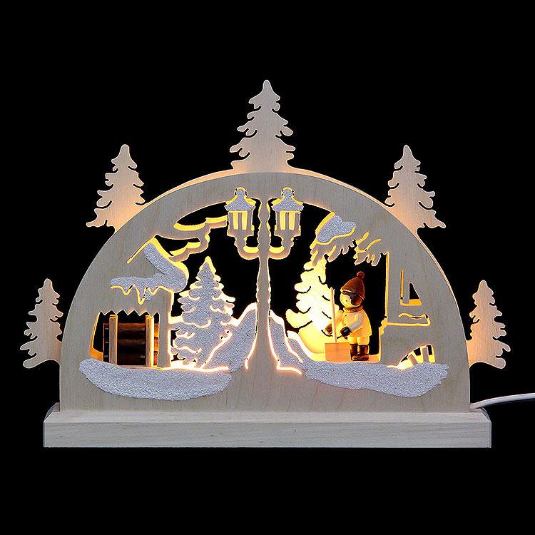 Mini - LED - Schwibbogen Schneeschieber  -  23x15x4,5cm
