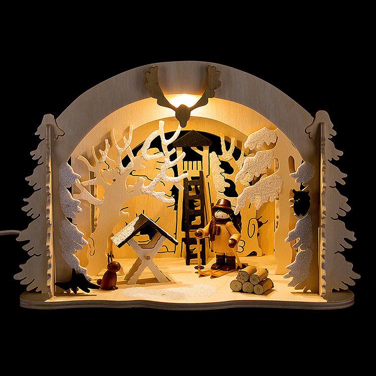 Raumleuchte als Diorama Wildfütterung  -  19cm