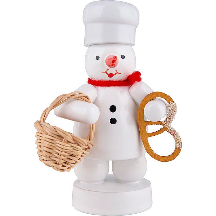 Schneemann Bäcker mit Brötchenkorb und Brezel  -  8cm