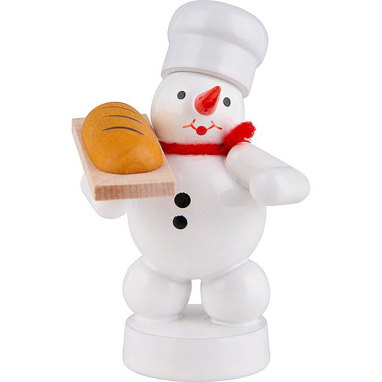 Schneemann Bäcker mit Brot  -  8cm