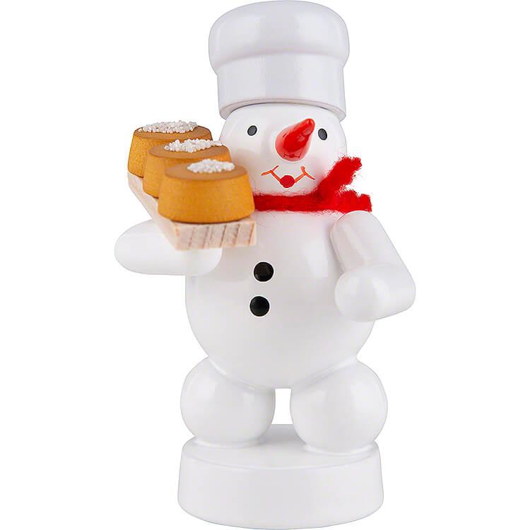Schneemann Bäcker mit Kuchen  -  8cm