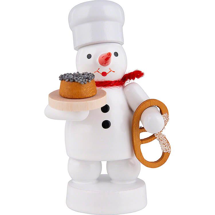 Schneemann Bäcker mit Mohnkuchen und Brezel  -  8cm
