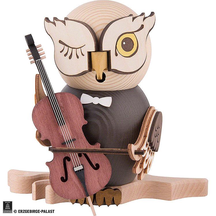 Smoker  -  Owl with Cello  -  15cm / 5.9 inch