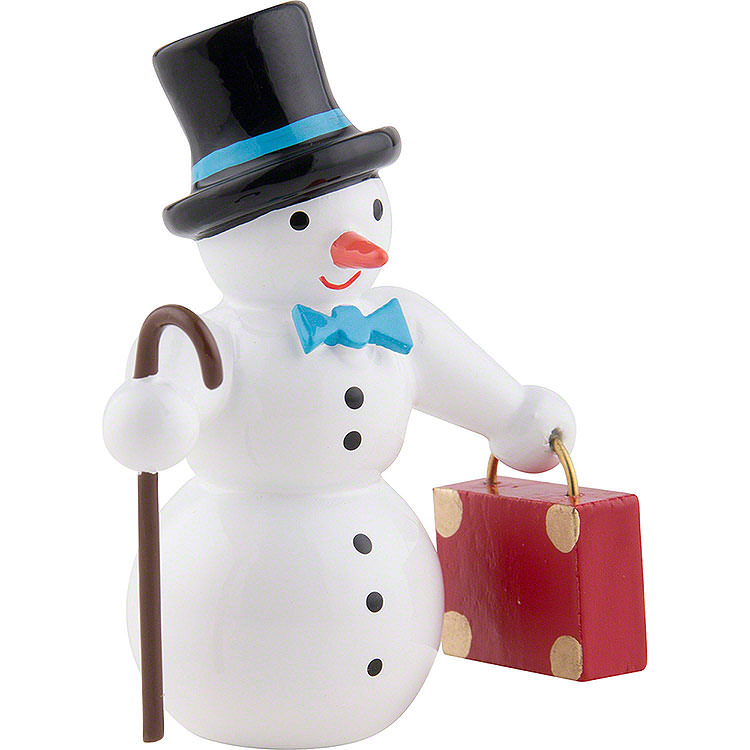 Snow Man with Suitcase and Top Hat  -  6,5cm / 2.5 inch
