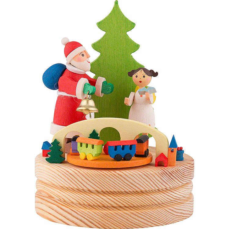 Spieldose Weihnachtsmann mit Christkind  -  13cm