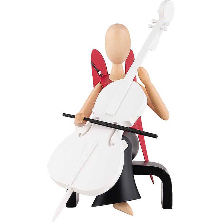 Sternkopf Engel mit Cello sitzend  -  15,5cm