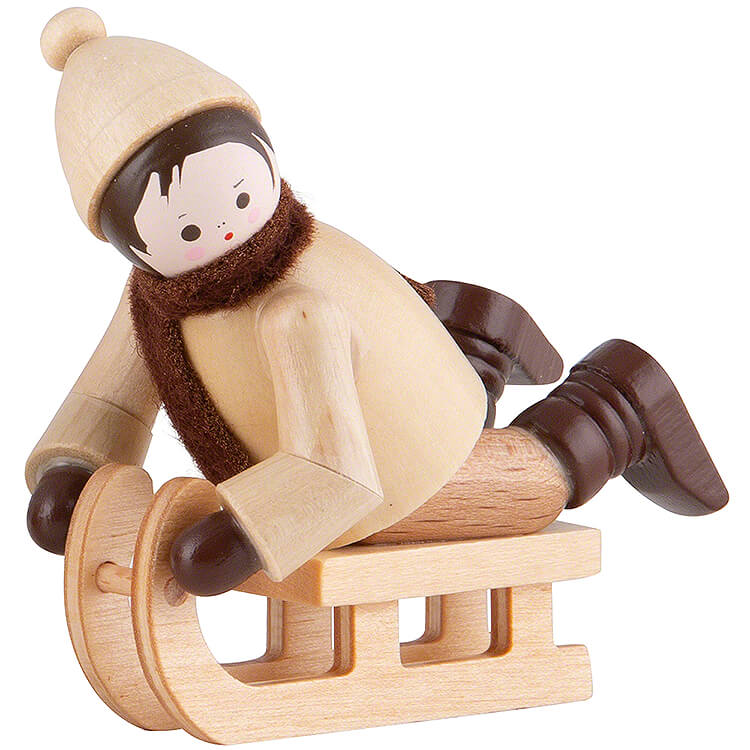 Thiel Figurine  -  Bobsleigh Rider lying  -  natural  -  5cm / 2 inch