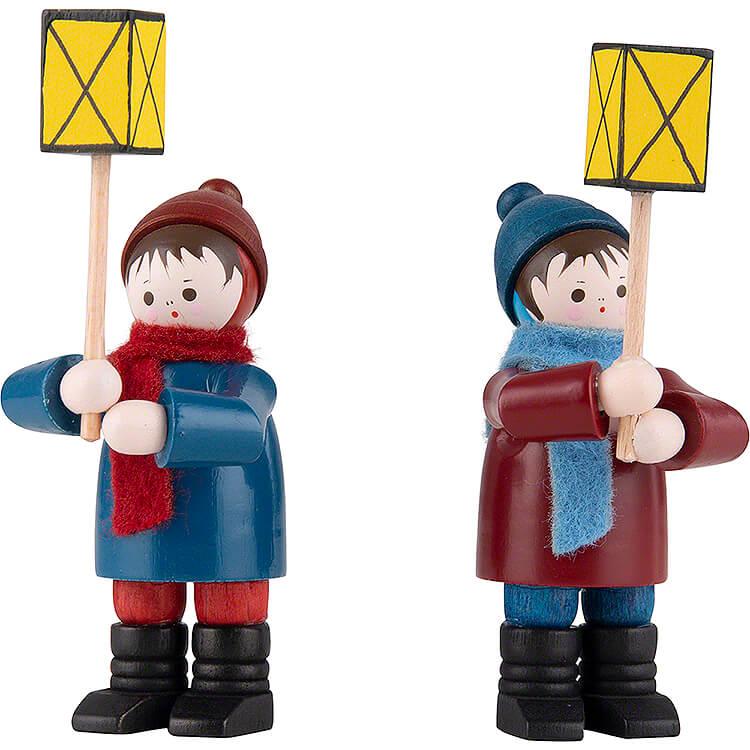 Thiel Figurines  -  Lantern Children  -  2 pieces  -  coloured  -  7cm / 2.8 inch