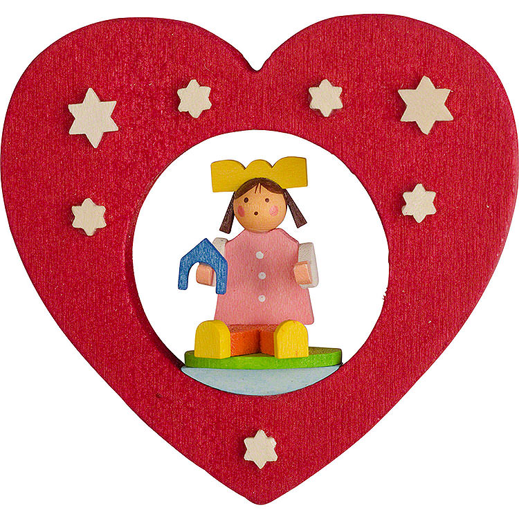 Tree Ornament  -  Heart with Doll  -  7cm / 2.8 inch
