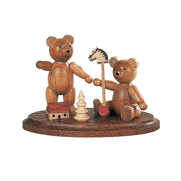 Two Bears Playing  -  4cm / 2 inch